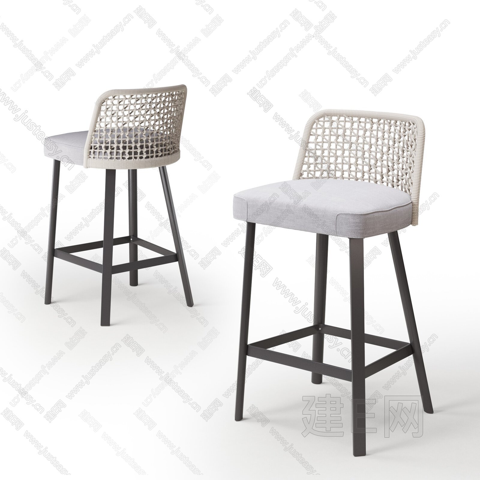 B&B 现代吧椅组合3d模型