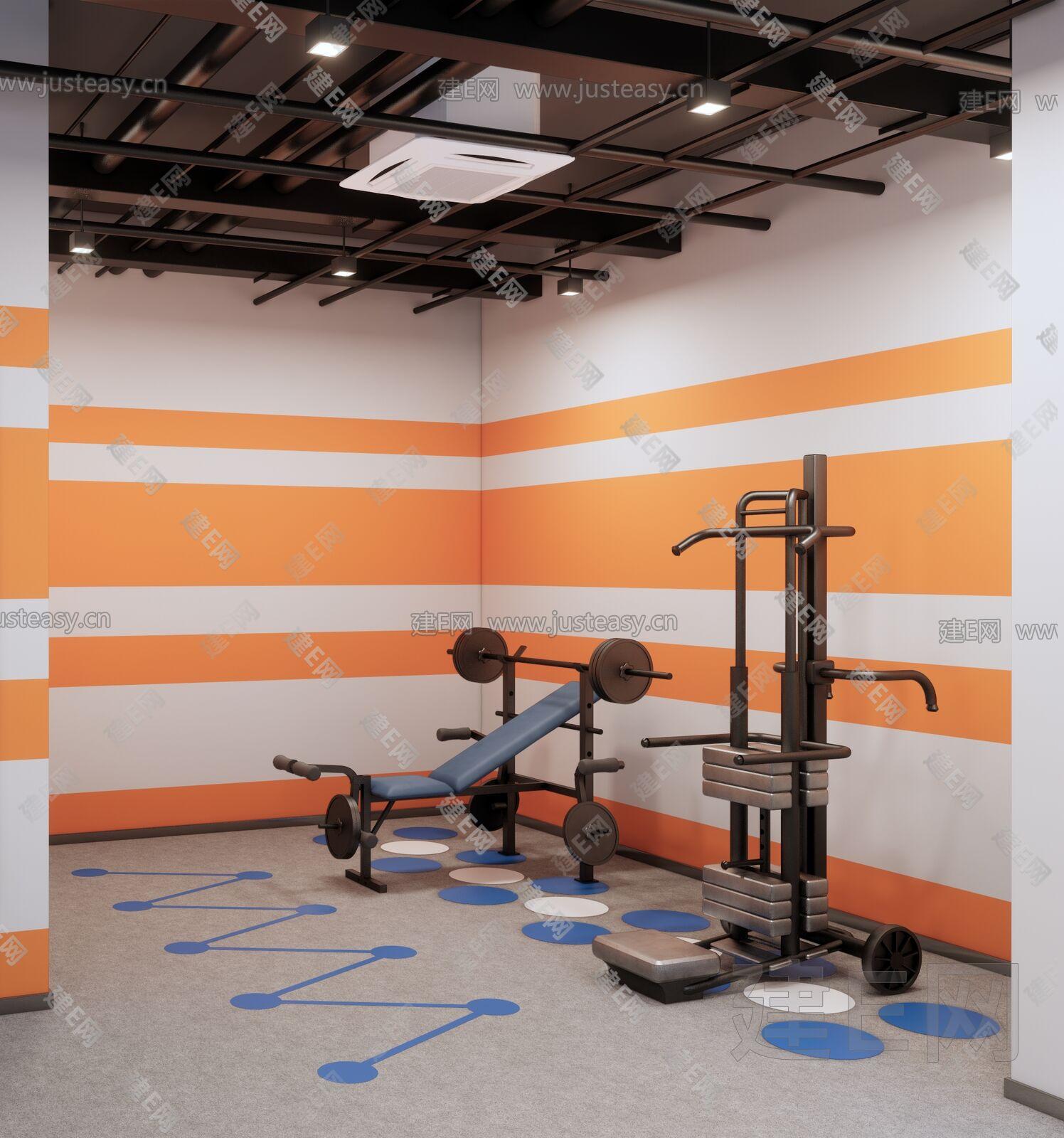 现代健身器材 sketchup模型