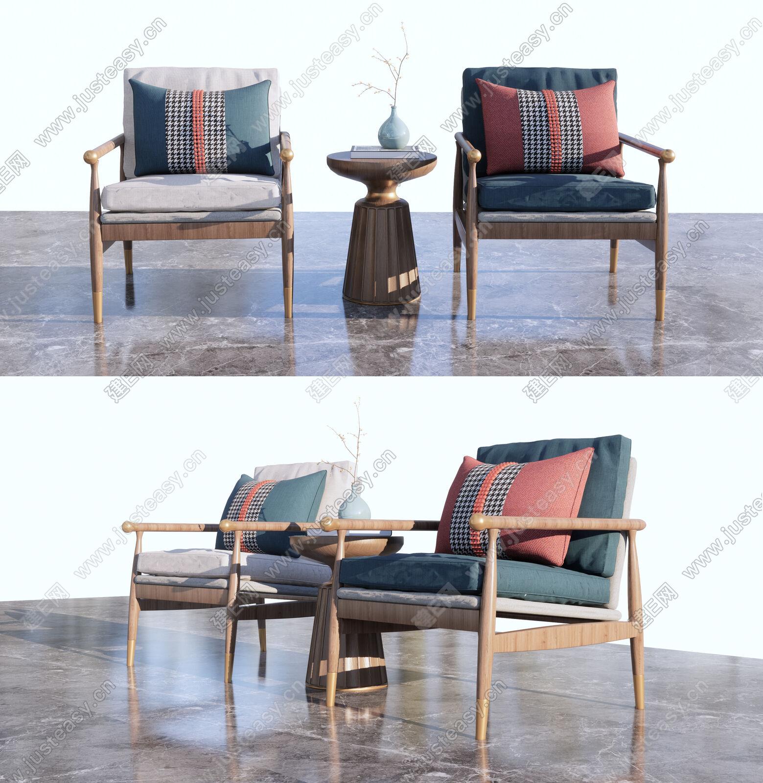新中式单椅sketchup模型