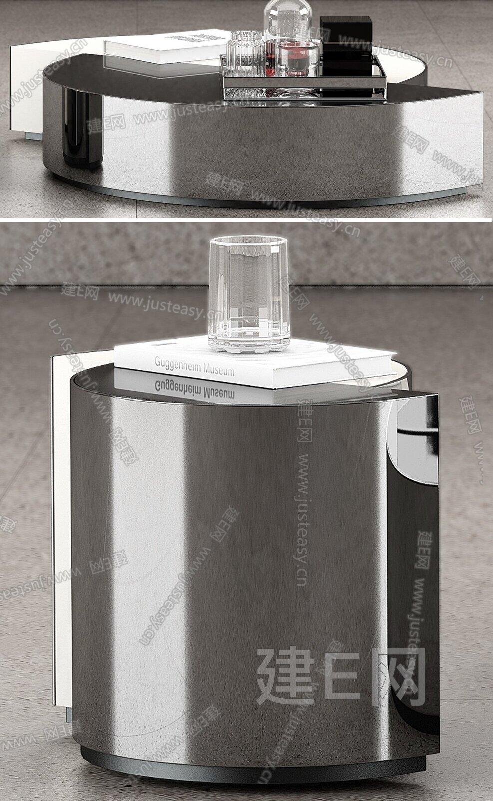 Minotti 现代圆形金属茶几边几组合3d模型