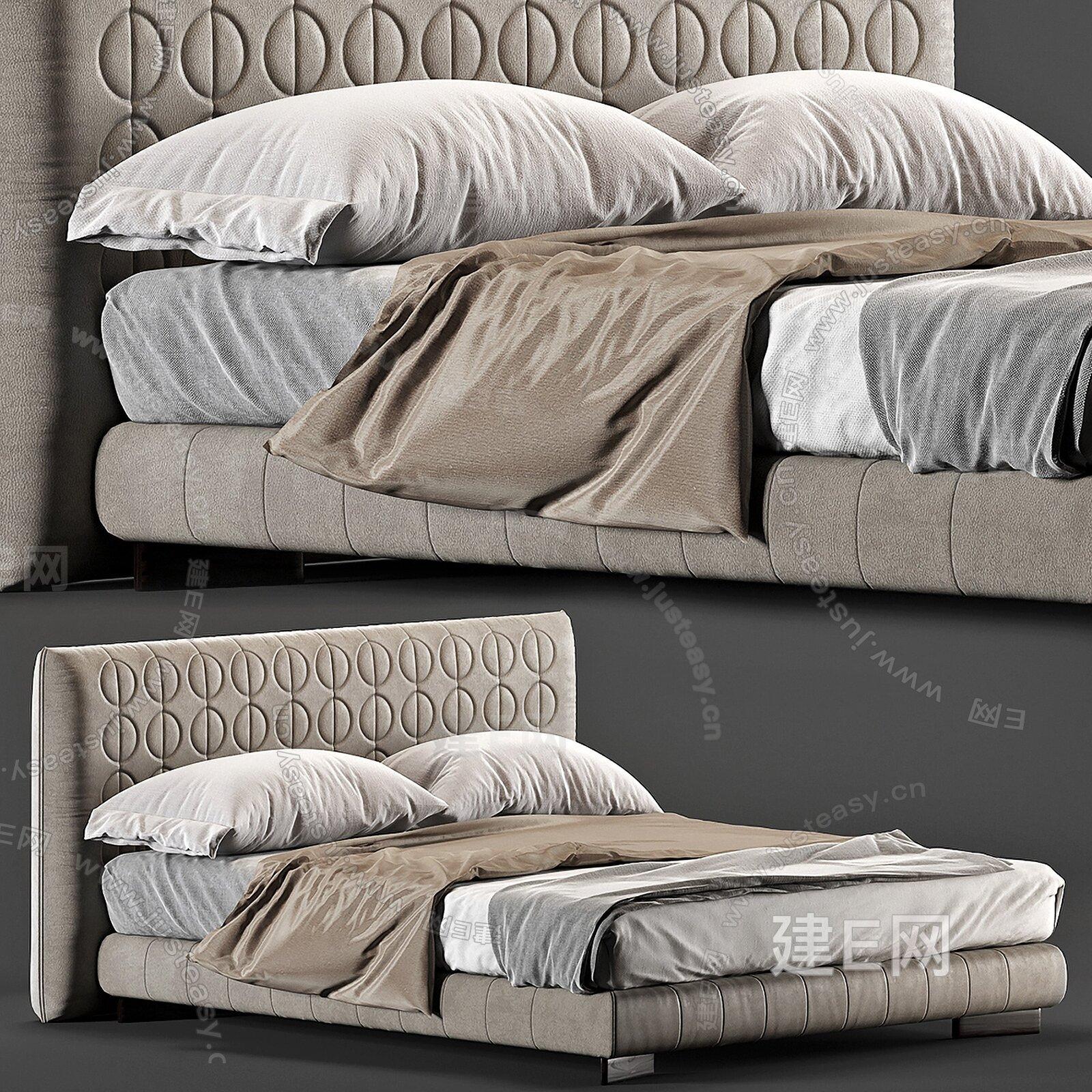 Minotti 现代轻奢双人床3d模型