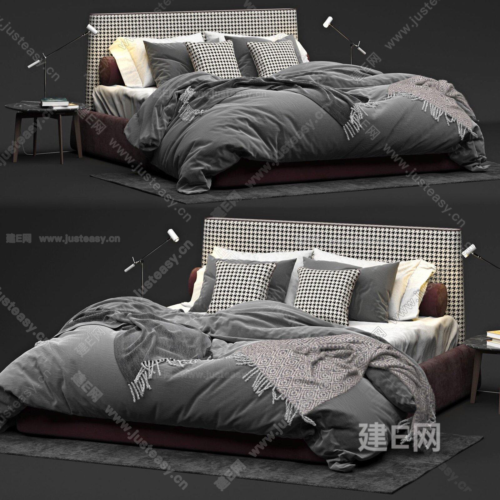 Twils 现代双人床3d模型