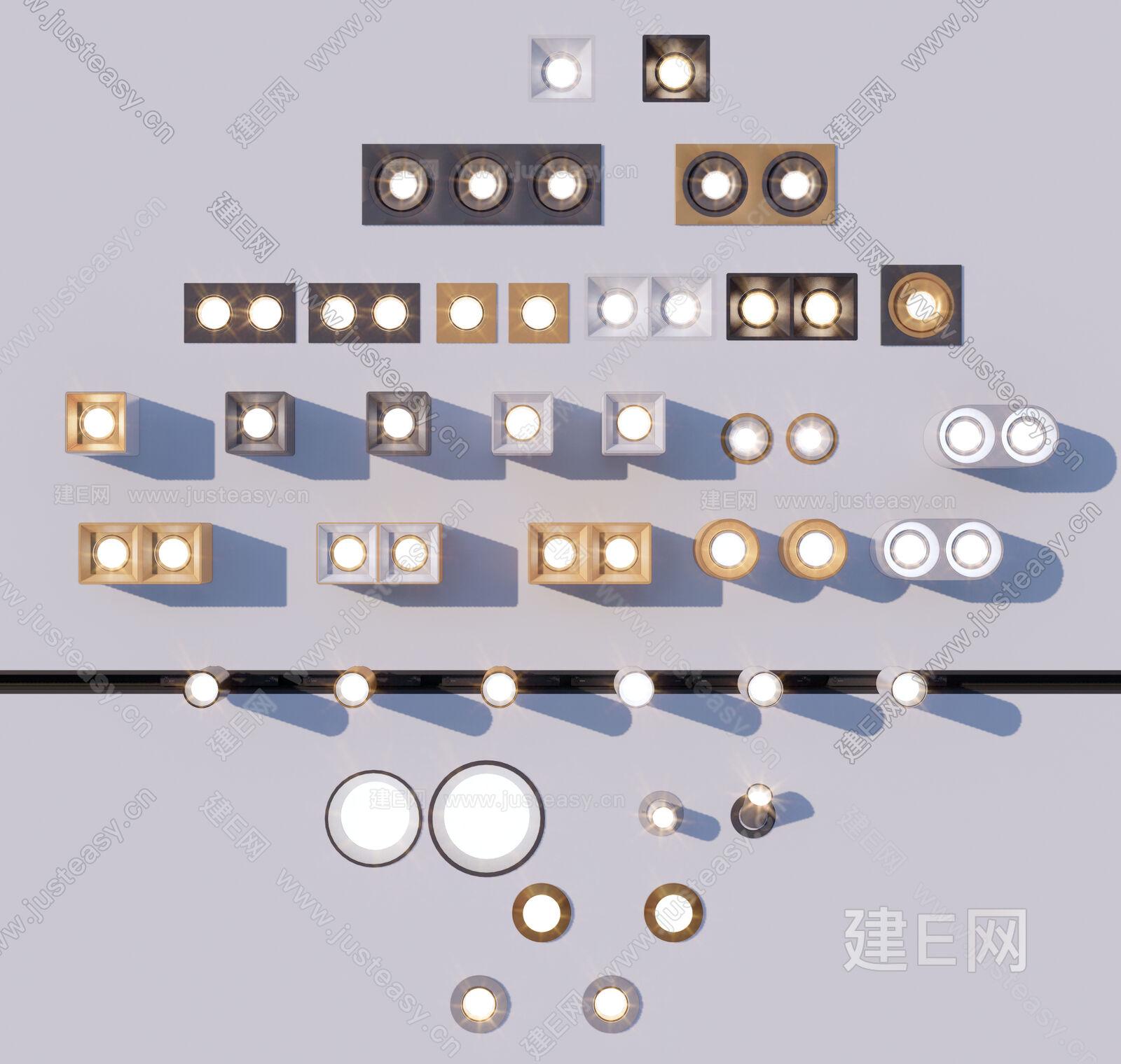 现代筒灯sketchup模型