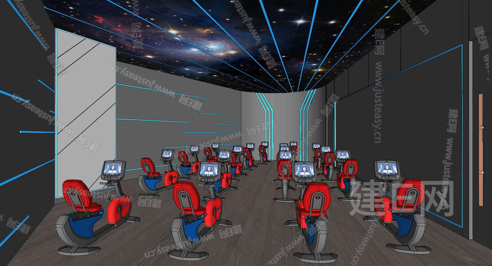 现代健身房sketchup模型