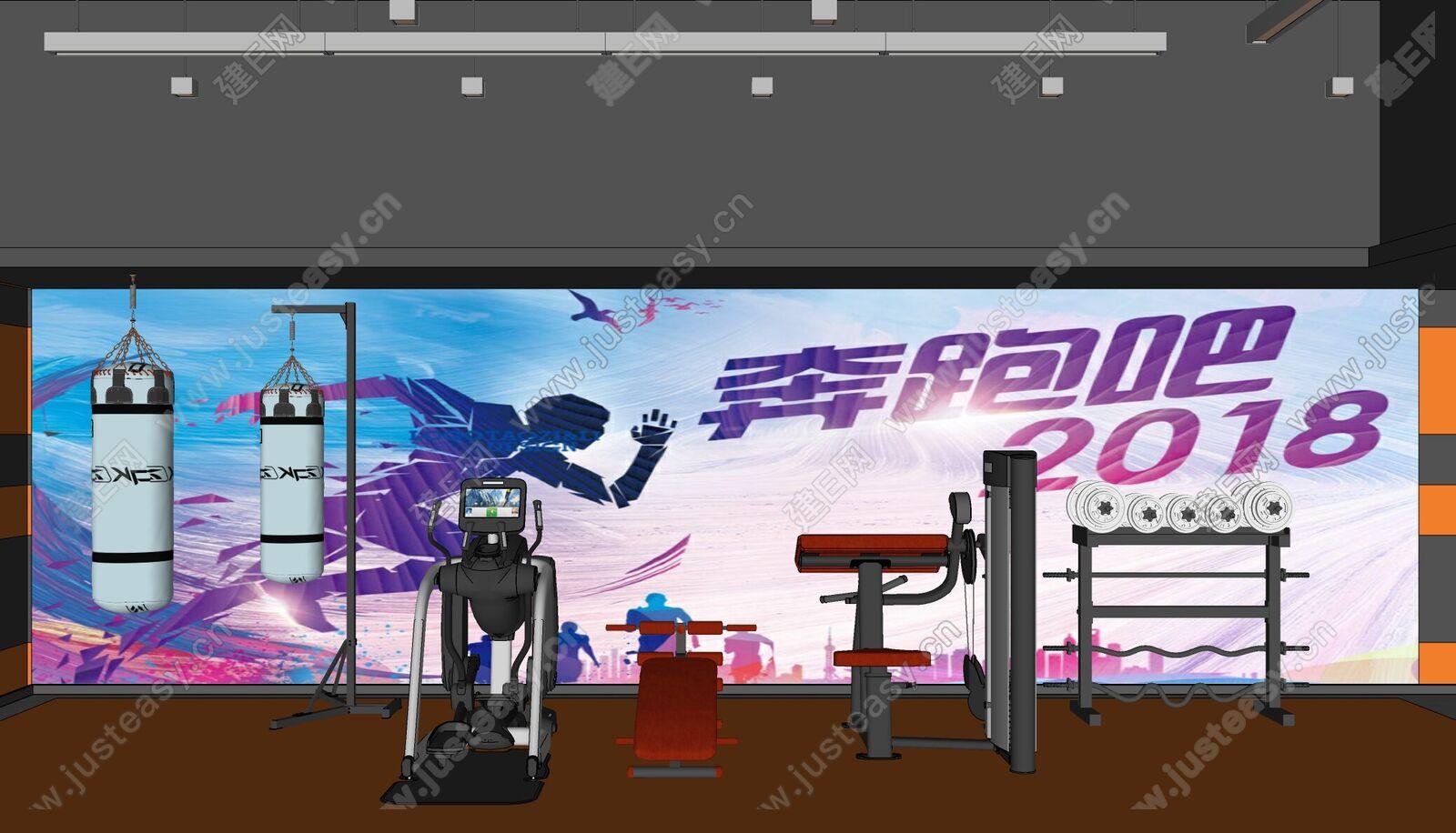 现代健身器材sketchup模型