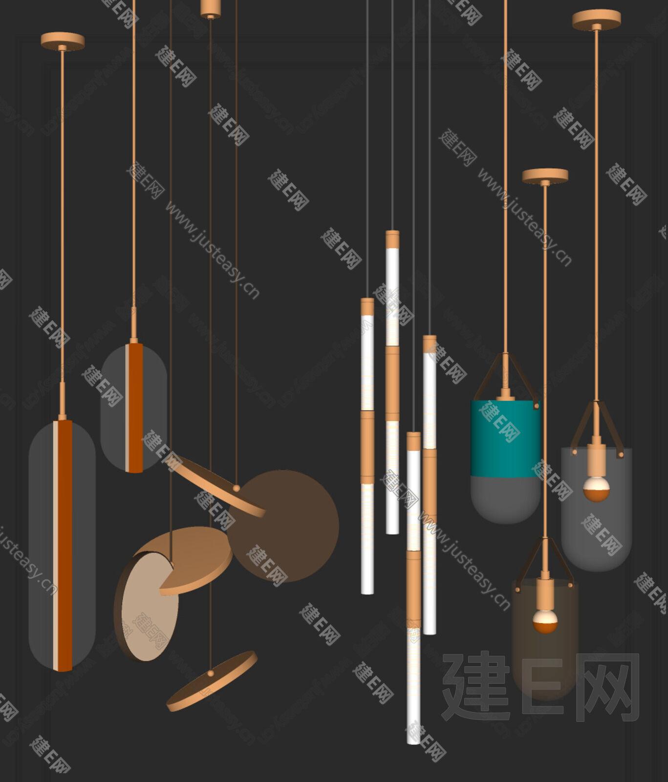 现代吊灯组合sketchup模型