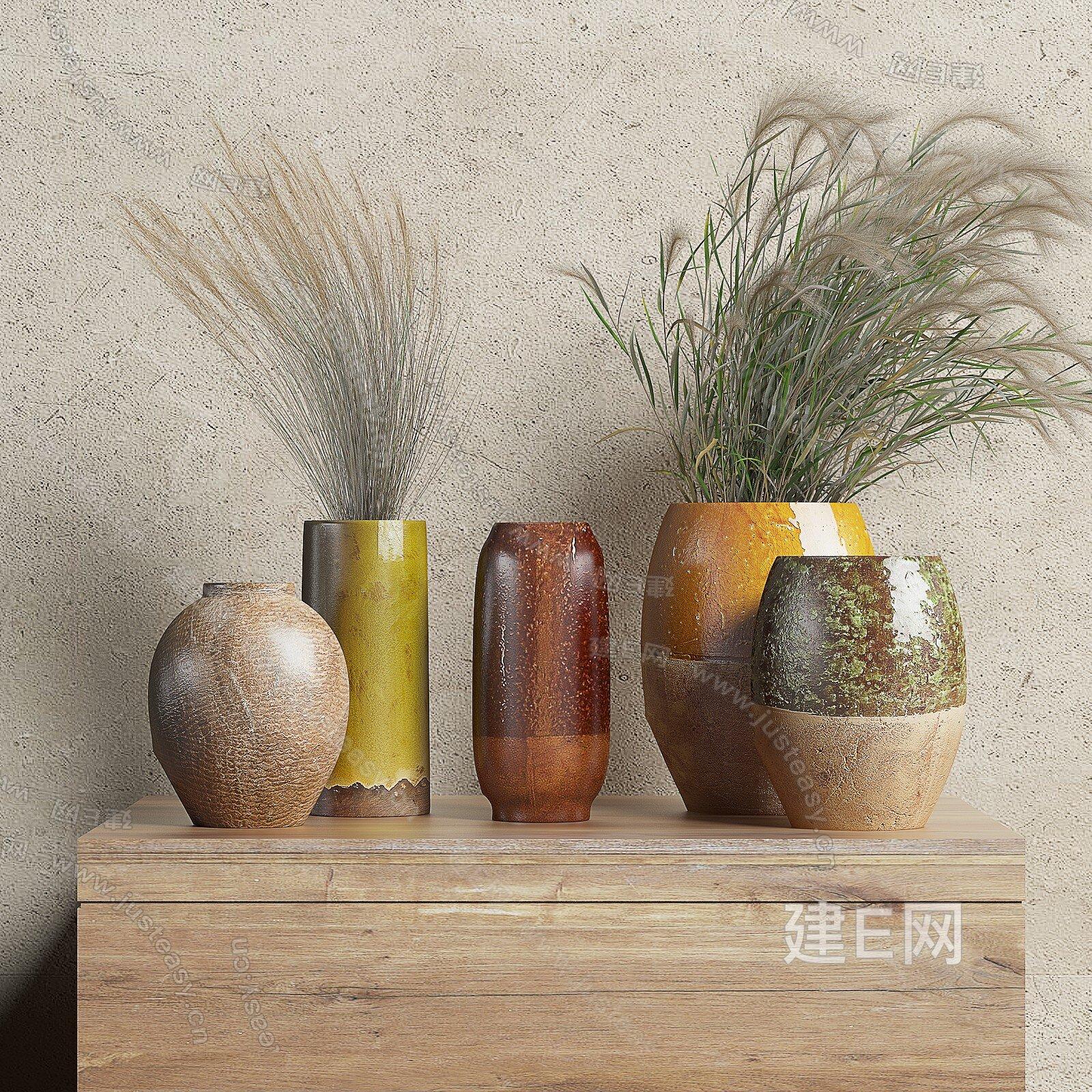 zara home 北欧陶瓷花瓶组合3d模型