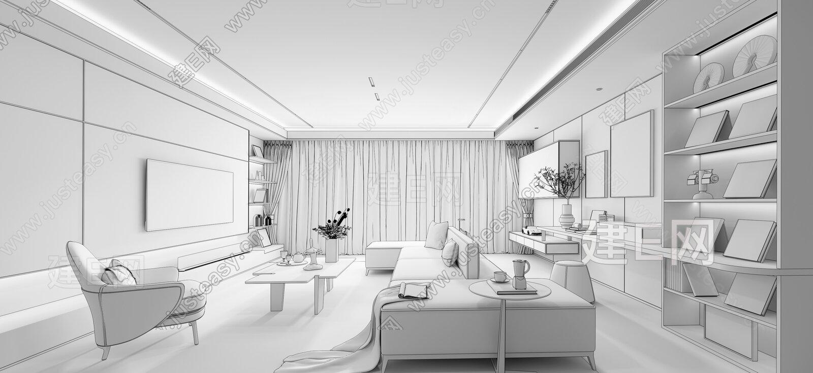 S.U.N 孙文设计事务所 现代轻奢客厅3d模型