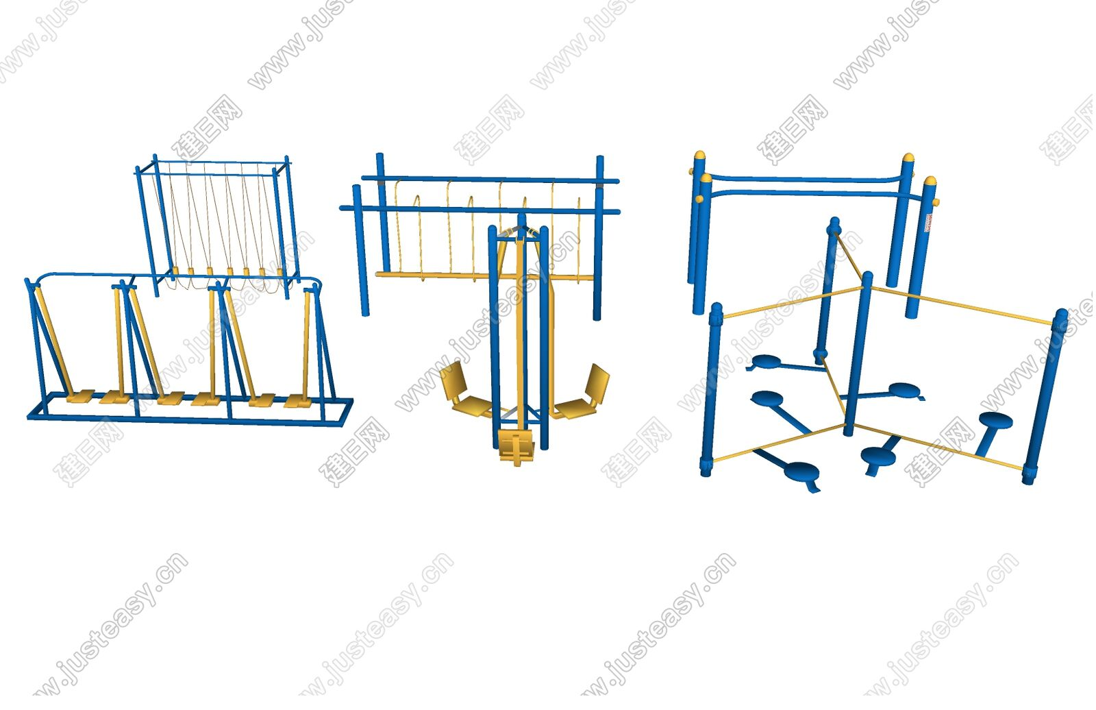 现代户外健身器材sketchup模型