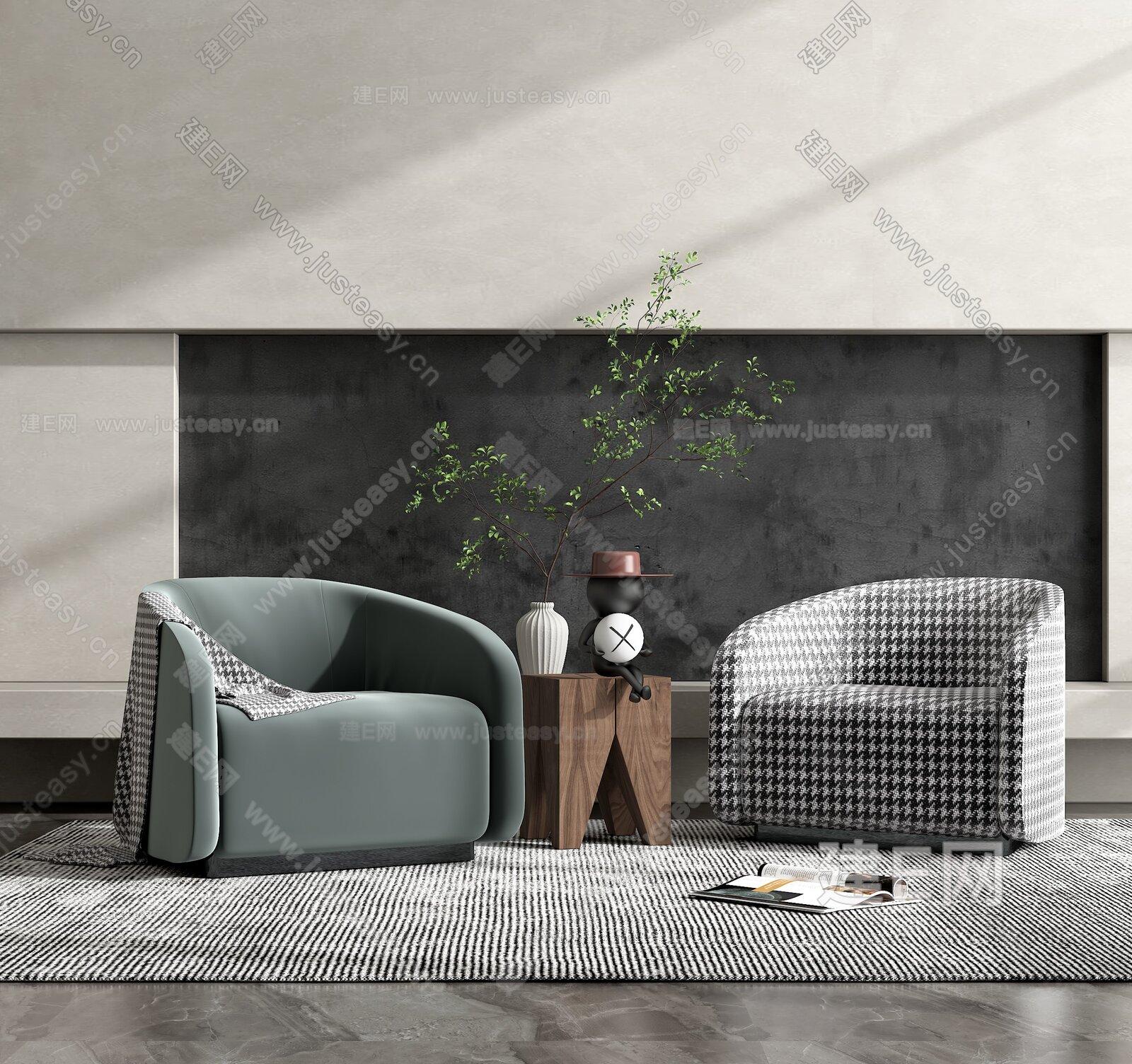 Fendi 现代单人沙发组合3d模型
