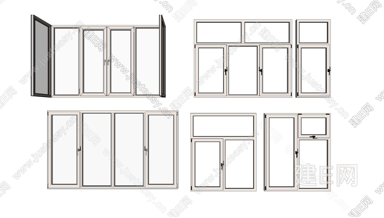 欧式窗户组合sketchup模型