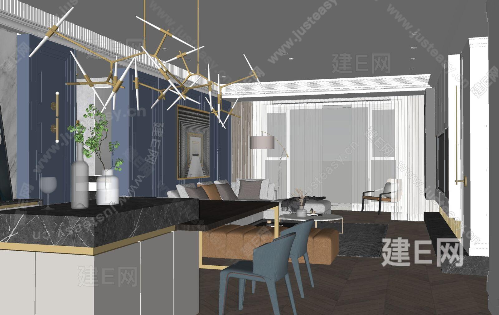 现代客餐厅sketchup模型