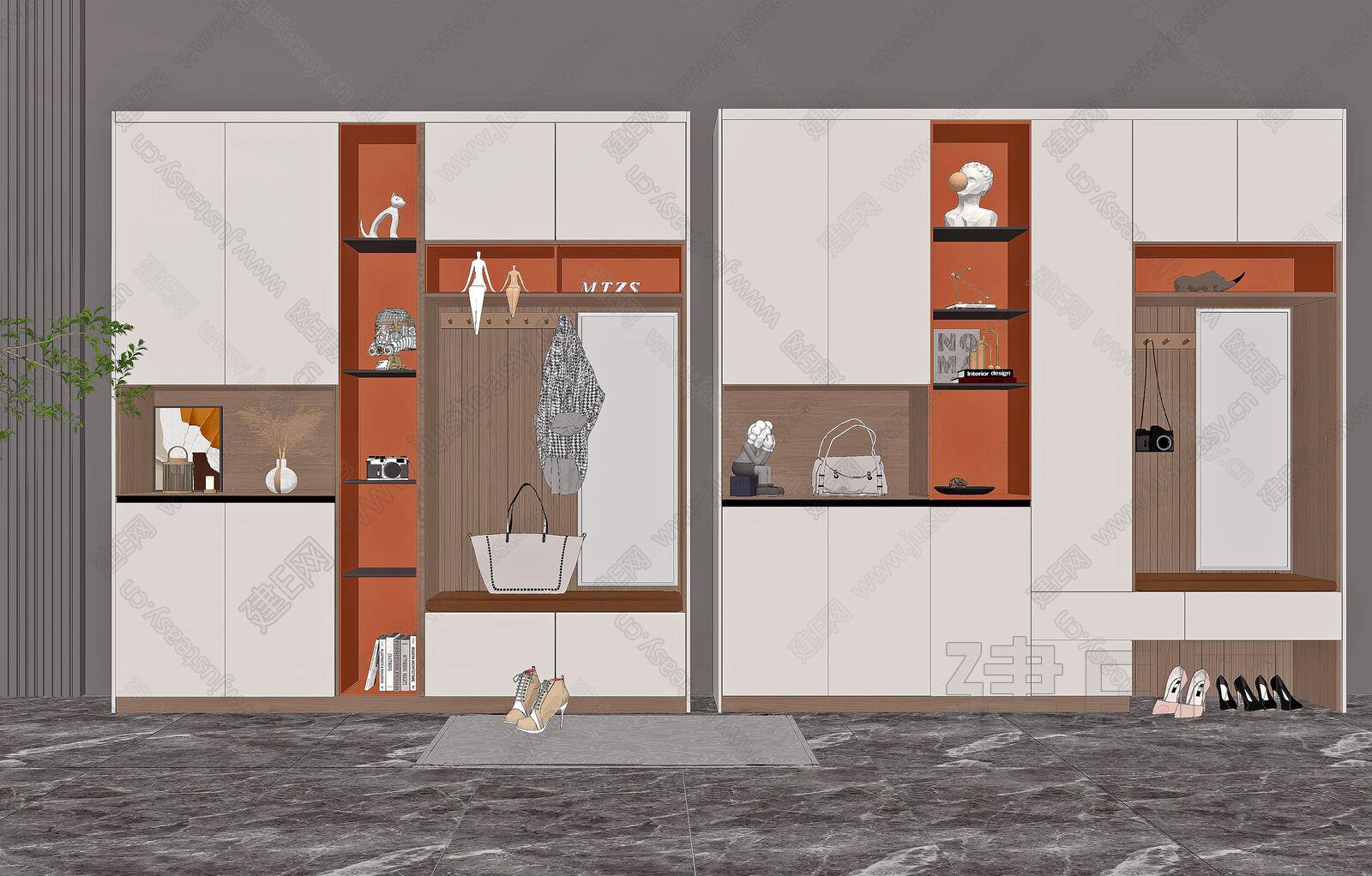 现代鞋柜组合sketchup模型