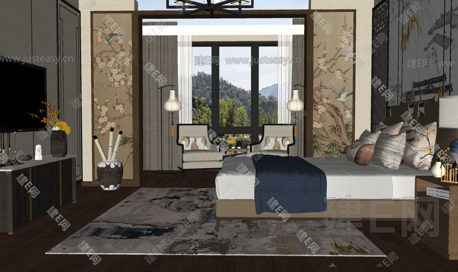 新中式卧室sketchup模型