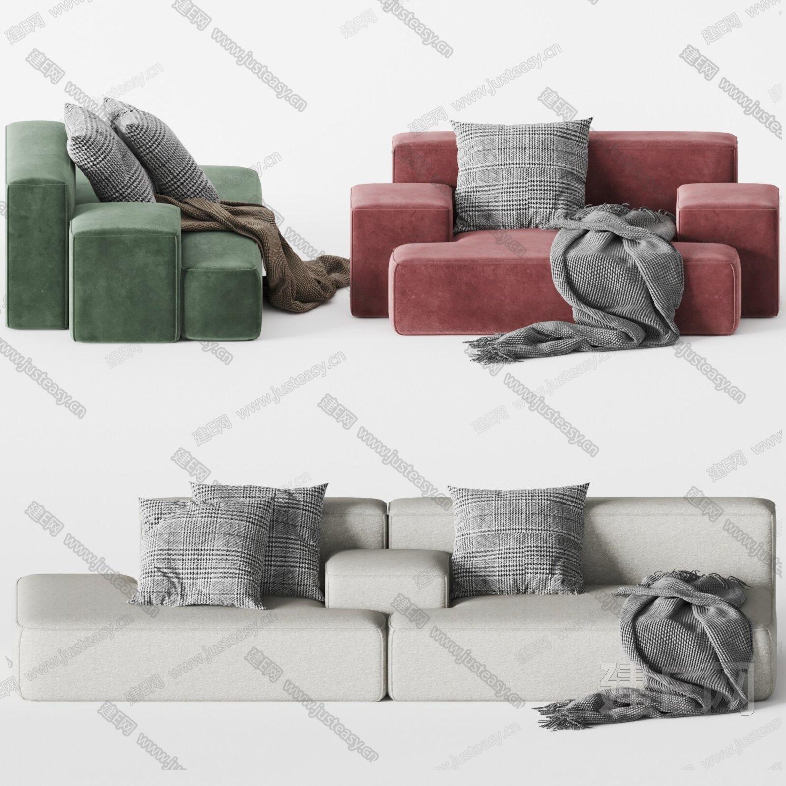Modular 现代多人沙发3d模型