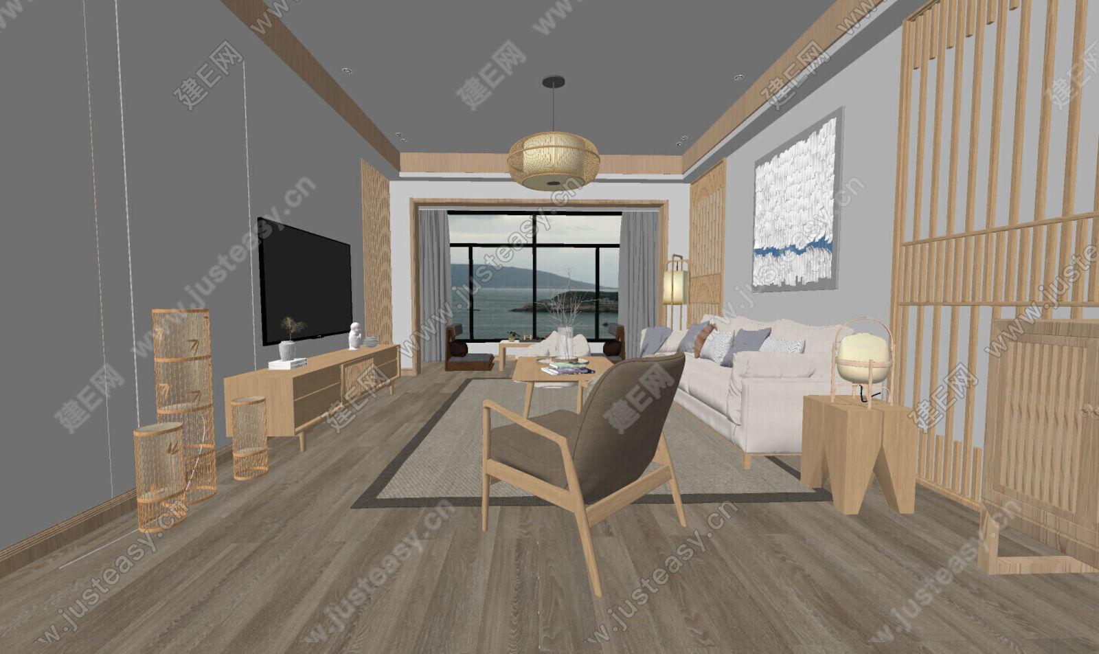 日式客厅sketchup模型