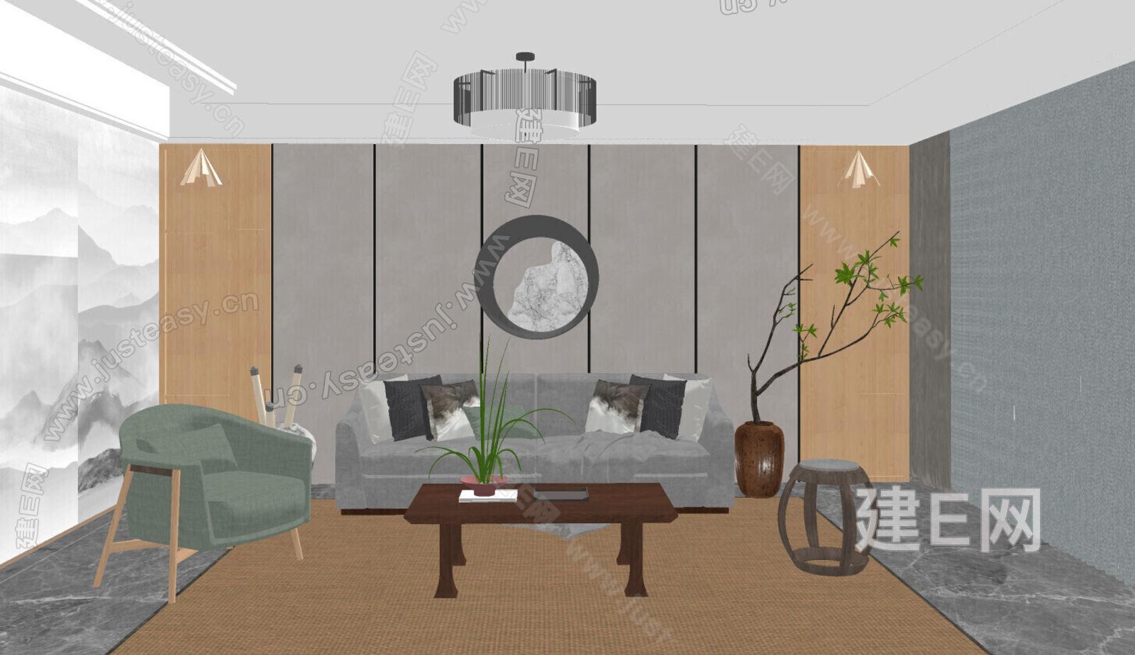 日式客厅 sketchup模型