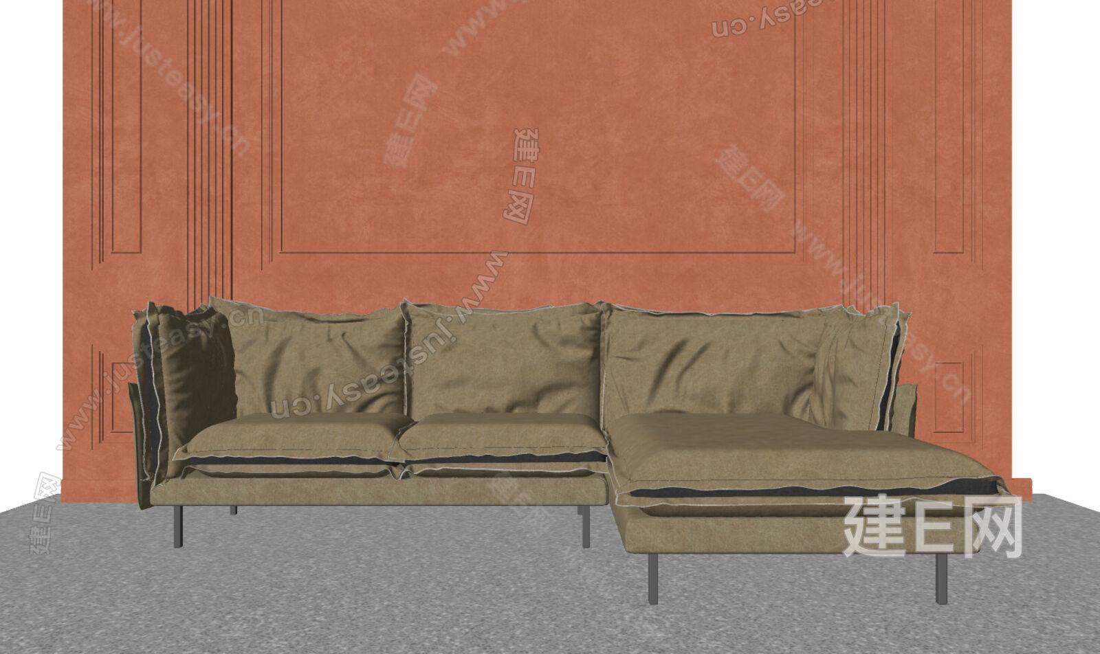 现代多人沙发sketchup模型