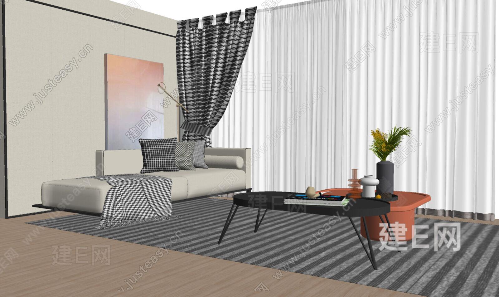 现代沙发组合sketchup模型