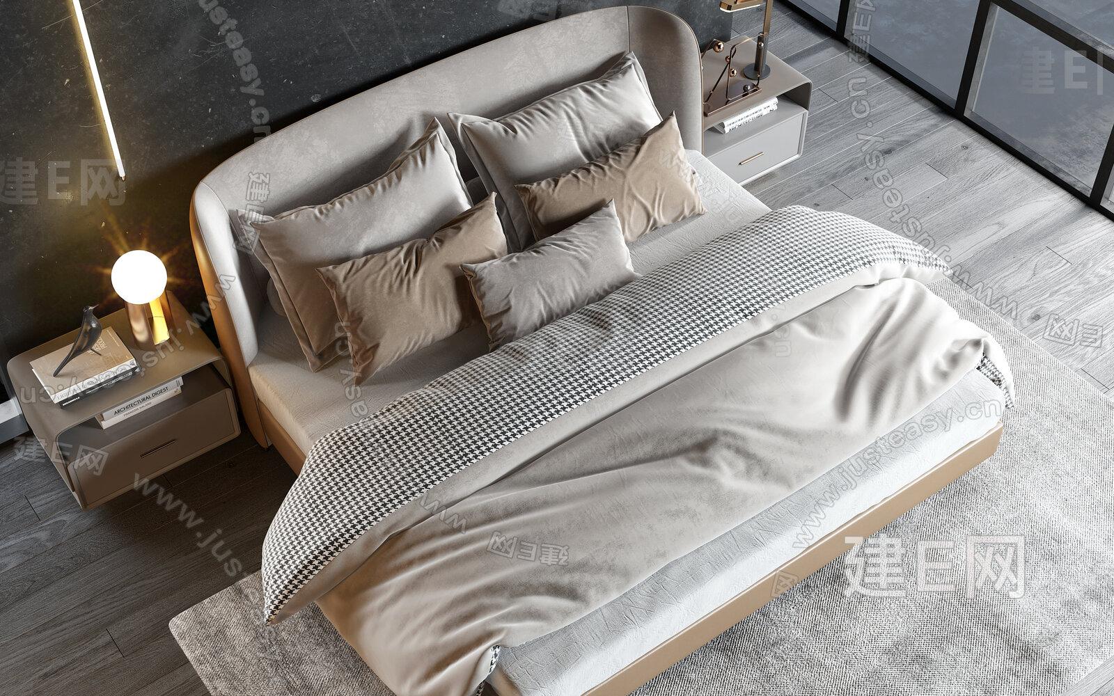 minotti 现代双人床3d模型