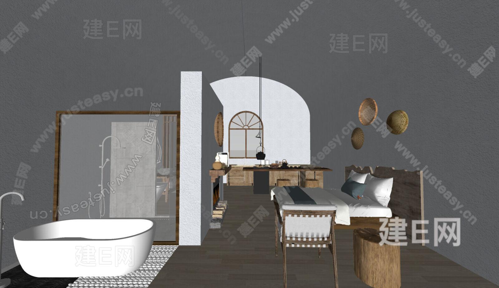 中式卧室sketchup模型