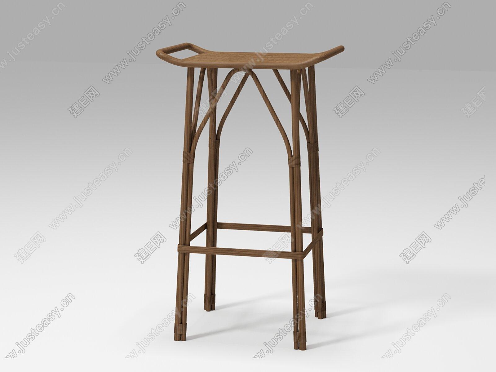 sika 侘寂风吧椅3d模型
