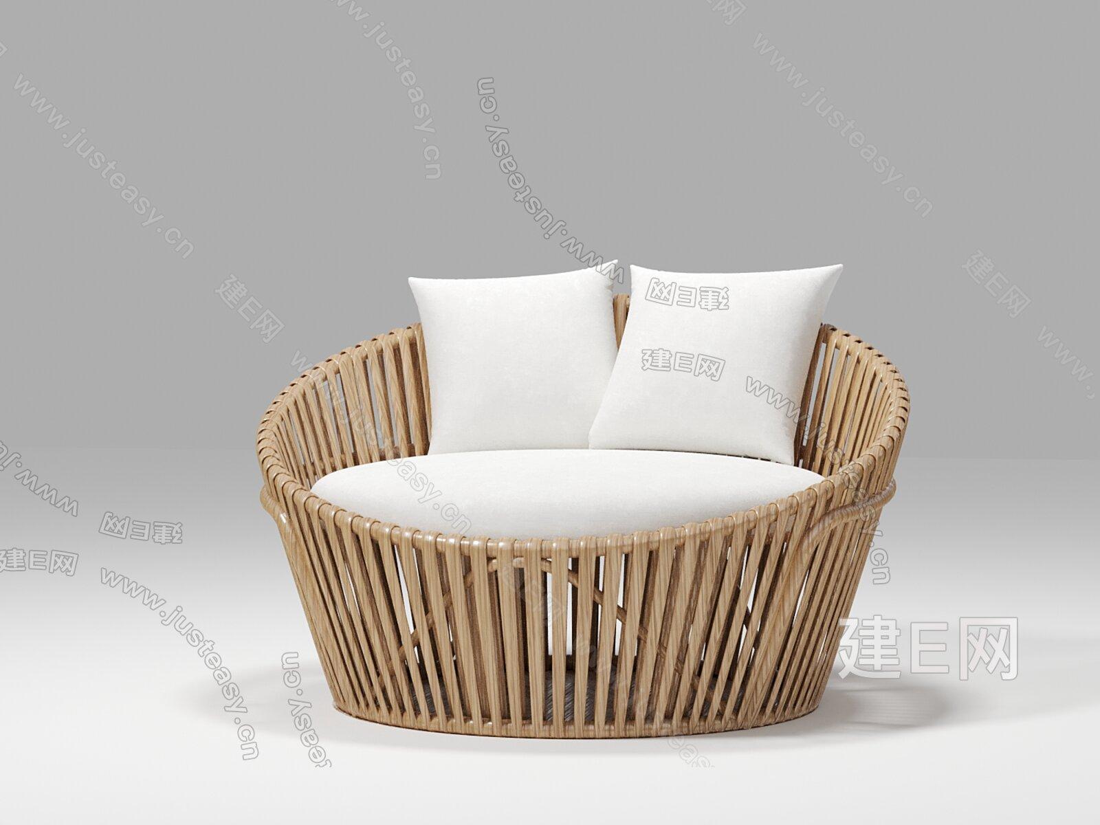 sika 侘寂风户外沙发3d模型
