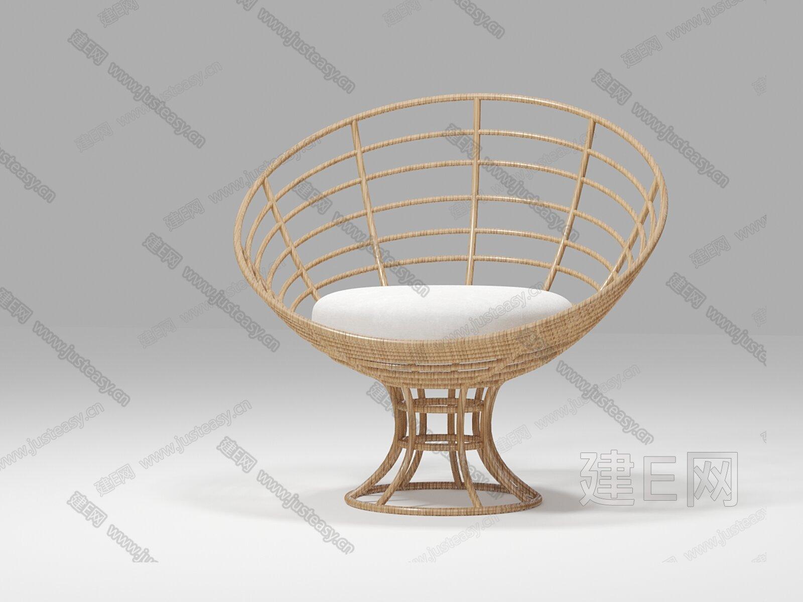 sika 侘寂风藤椅3d模型