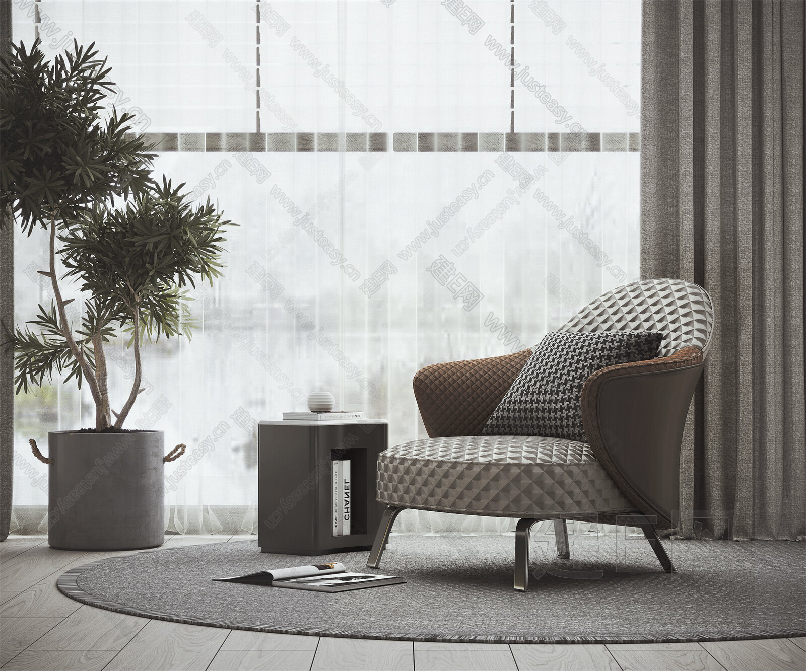 Minotti 现代休闲椅组合3d模型