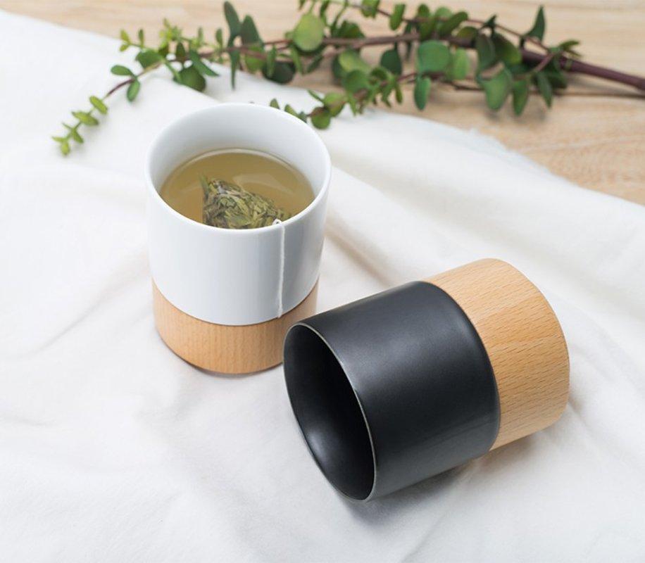【 一只有情怀的杯子】质造原创上下杯--上瓷下木