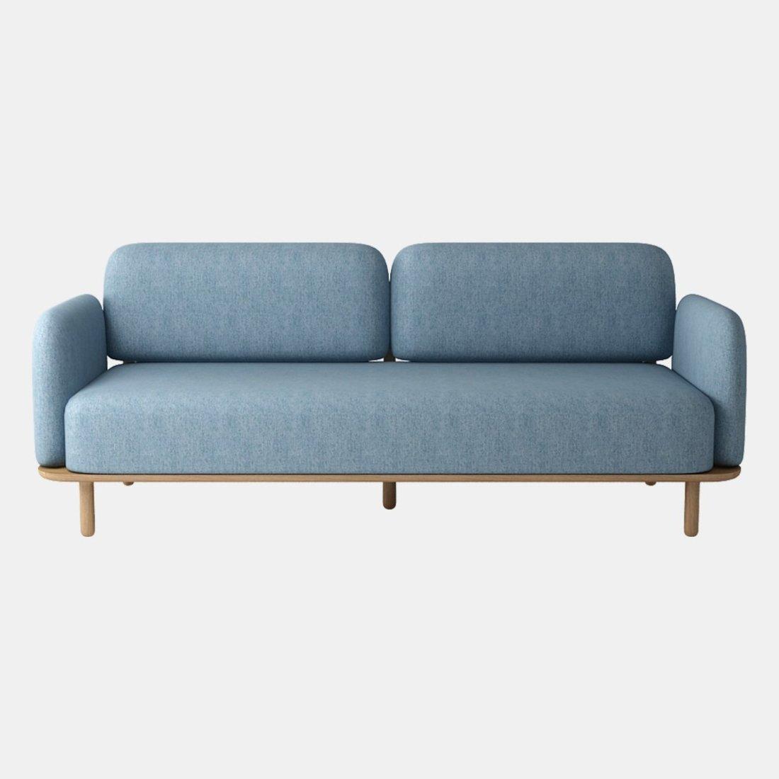 北欧三人布艺简约实木沙发