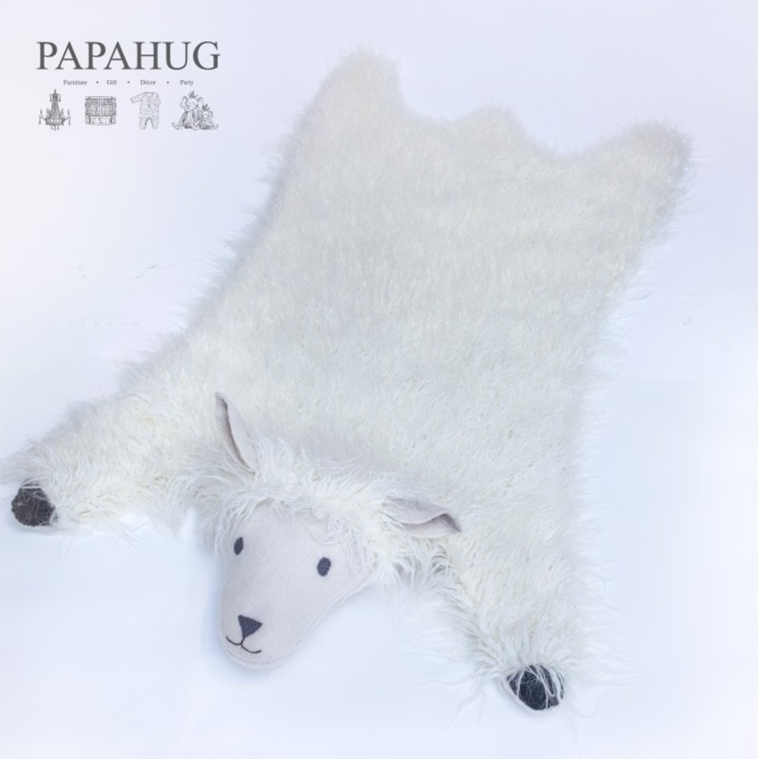 「PAPAHUG」进口水洗纯羊毛动物地毯
