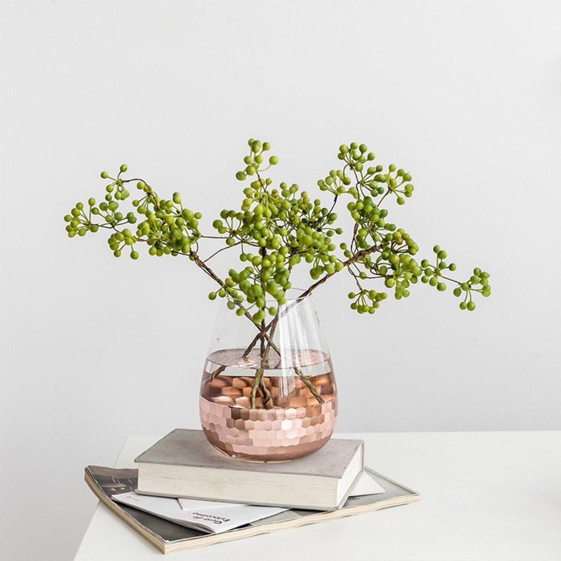 「金属感花瓶」半拼电镀金玻璃花瓶