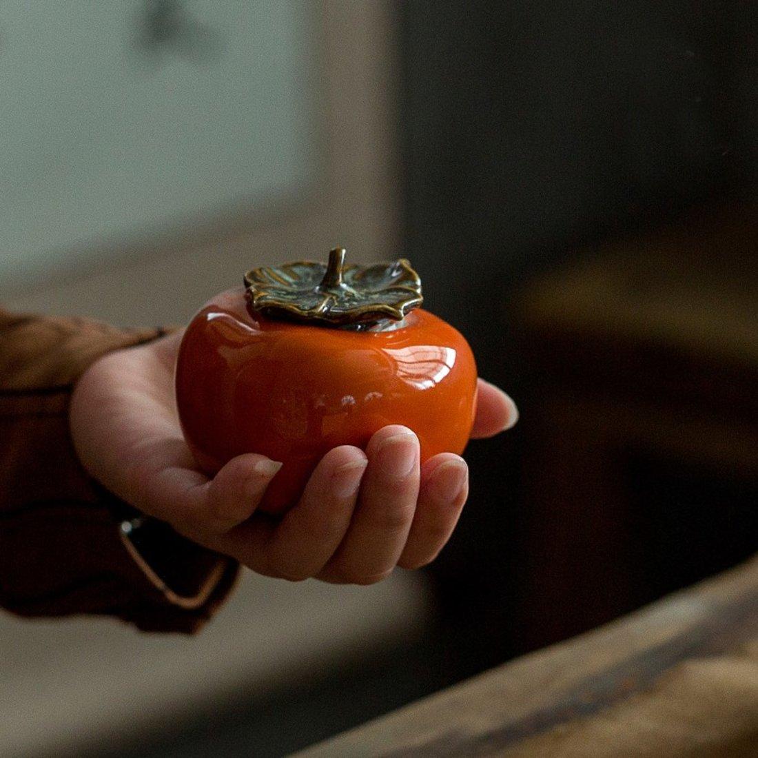 「柿柿如意 」 柿子陶瓷茶叶罐
