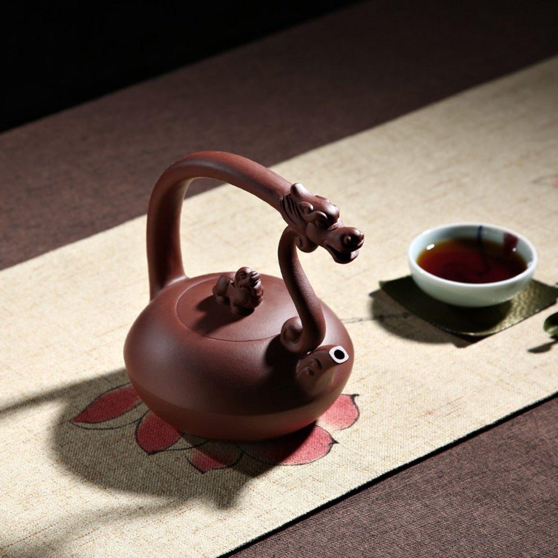 「国工范育君亲制」宜兴紫砂狮龙提梁壶