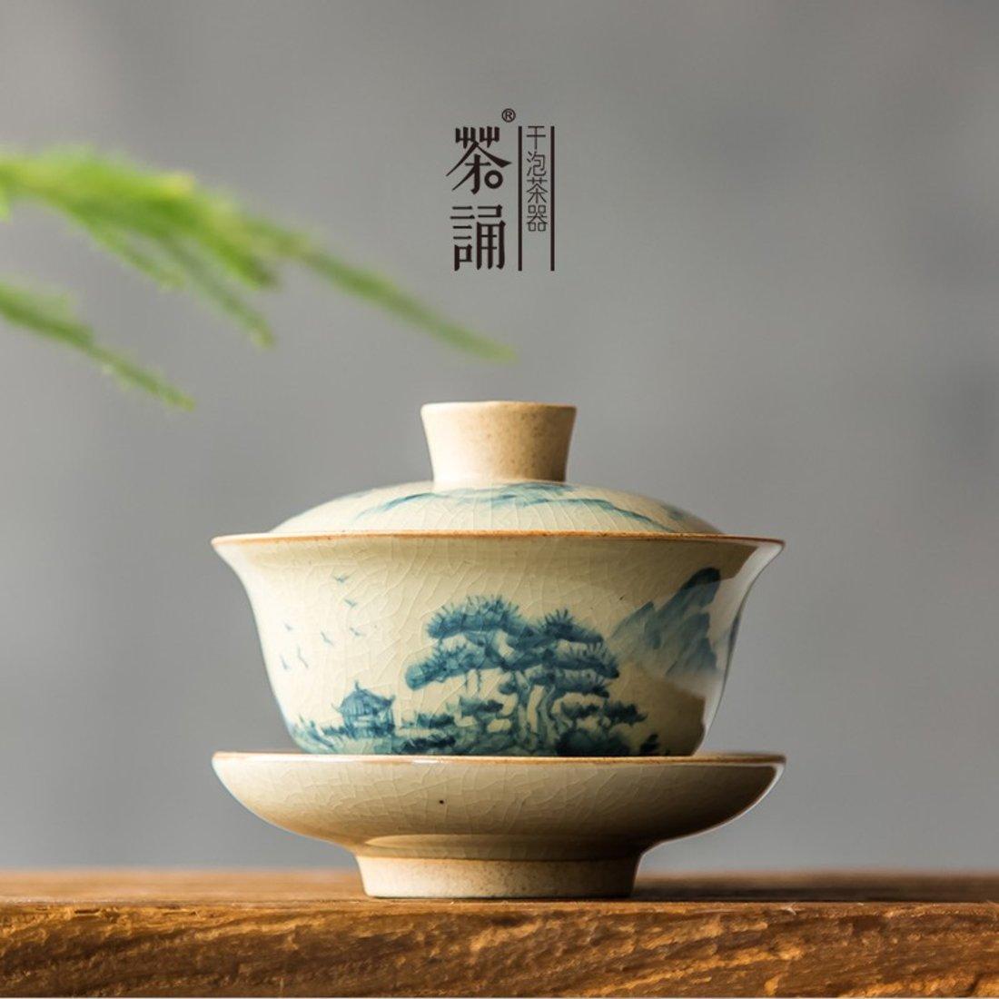 「泡茶器」复古粗陶水墨莲花盖碗