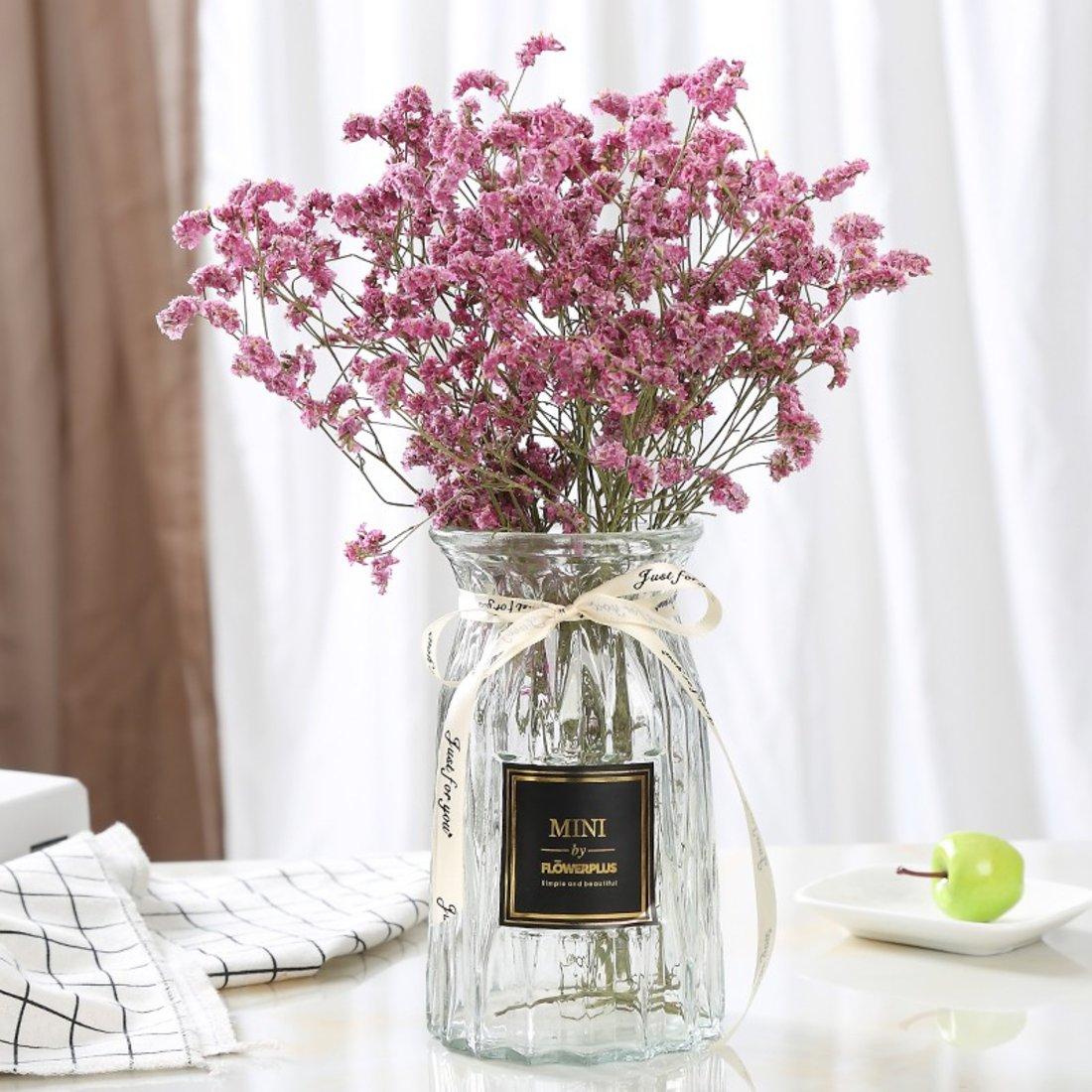 「玻璃花瓶」透明彩色竖棱花瓶
