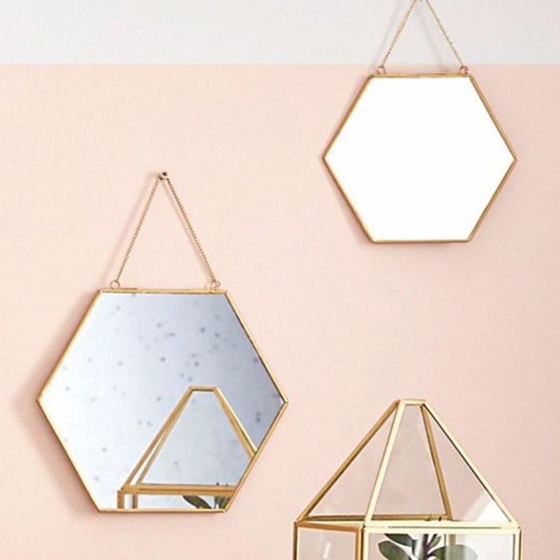 「卫浴镜」几何造型金边化妆镜
