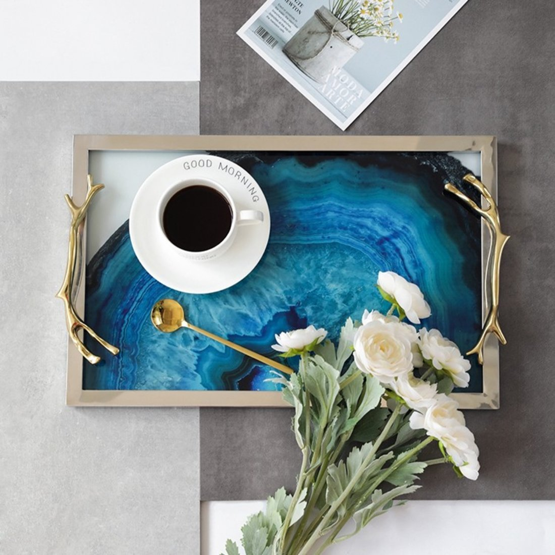 「墨染金边置物盘」玛瑙蓝石纹托盘