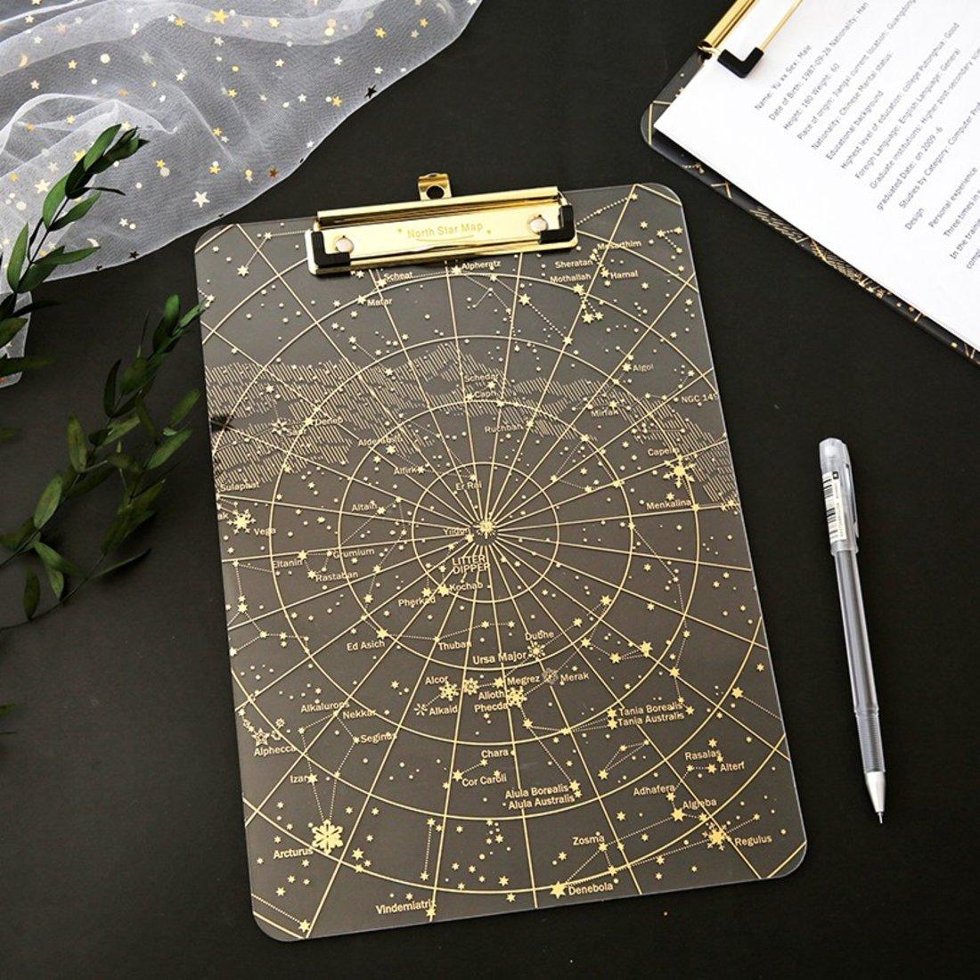 「 A4烫金写字夹」高透星空板夹