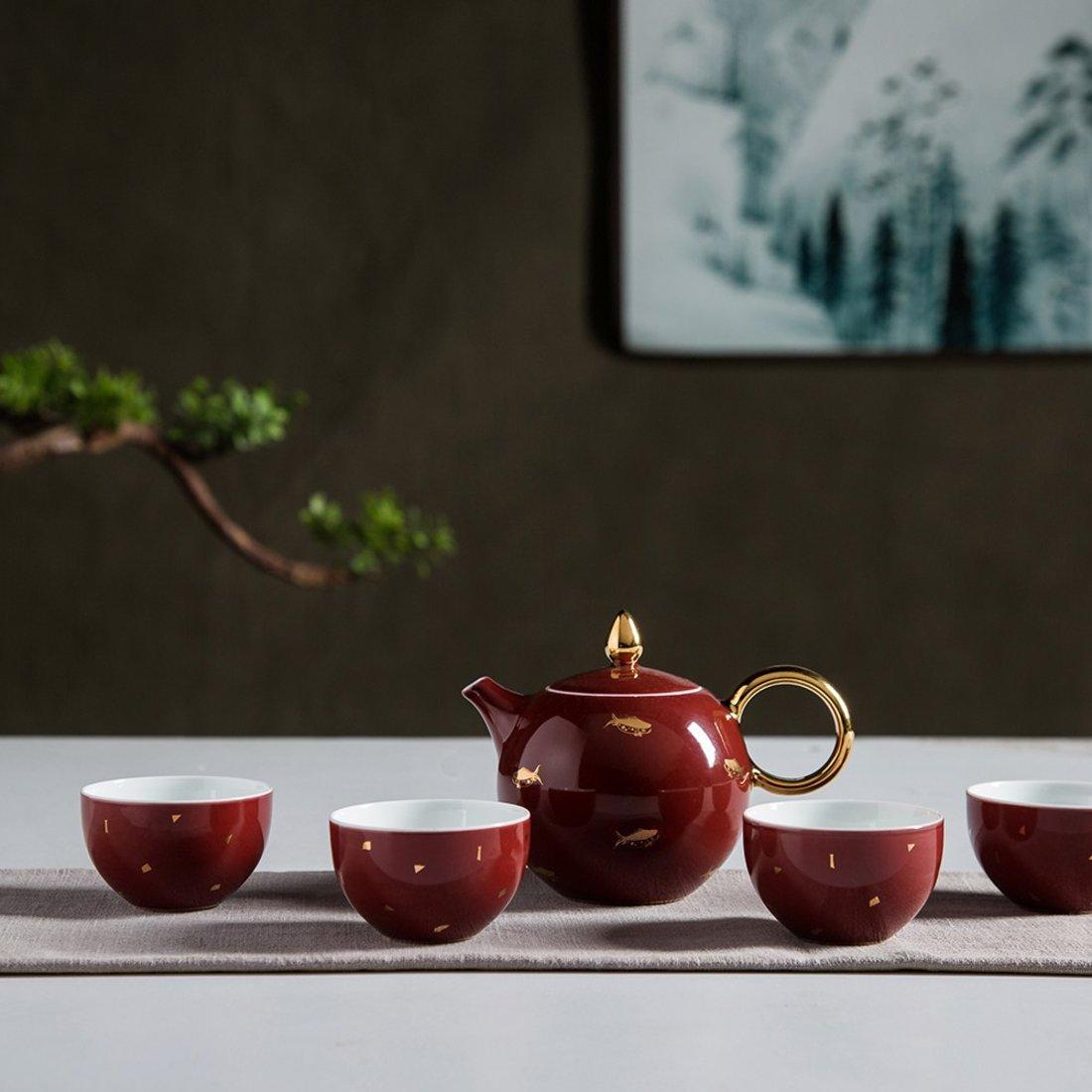 「茶具套装」一壶四杯烫金茶具