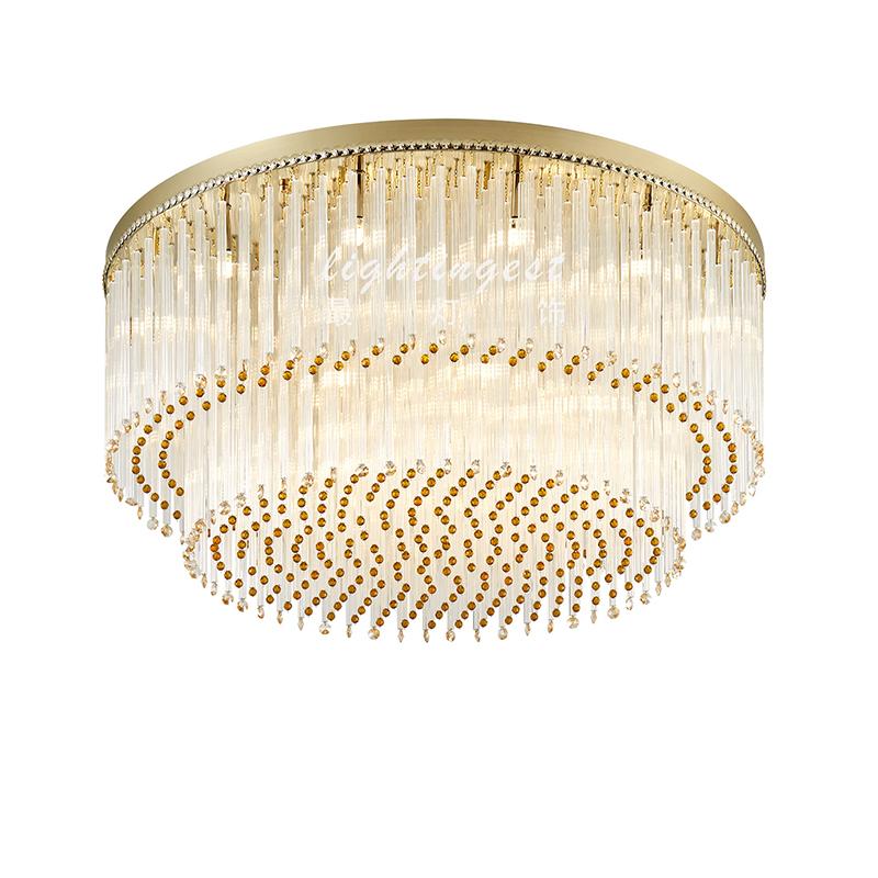 「吸顶灯」现代奢华水晶金属吸顶灯