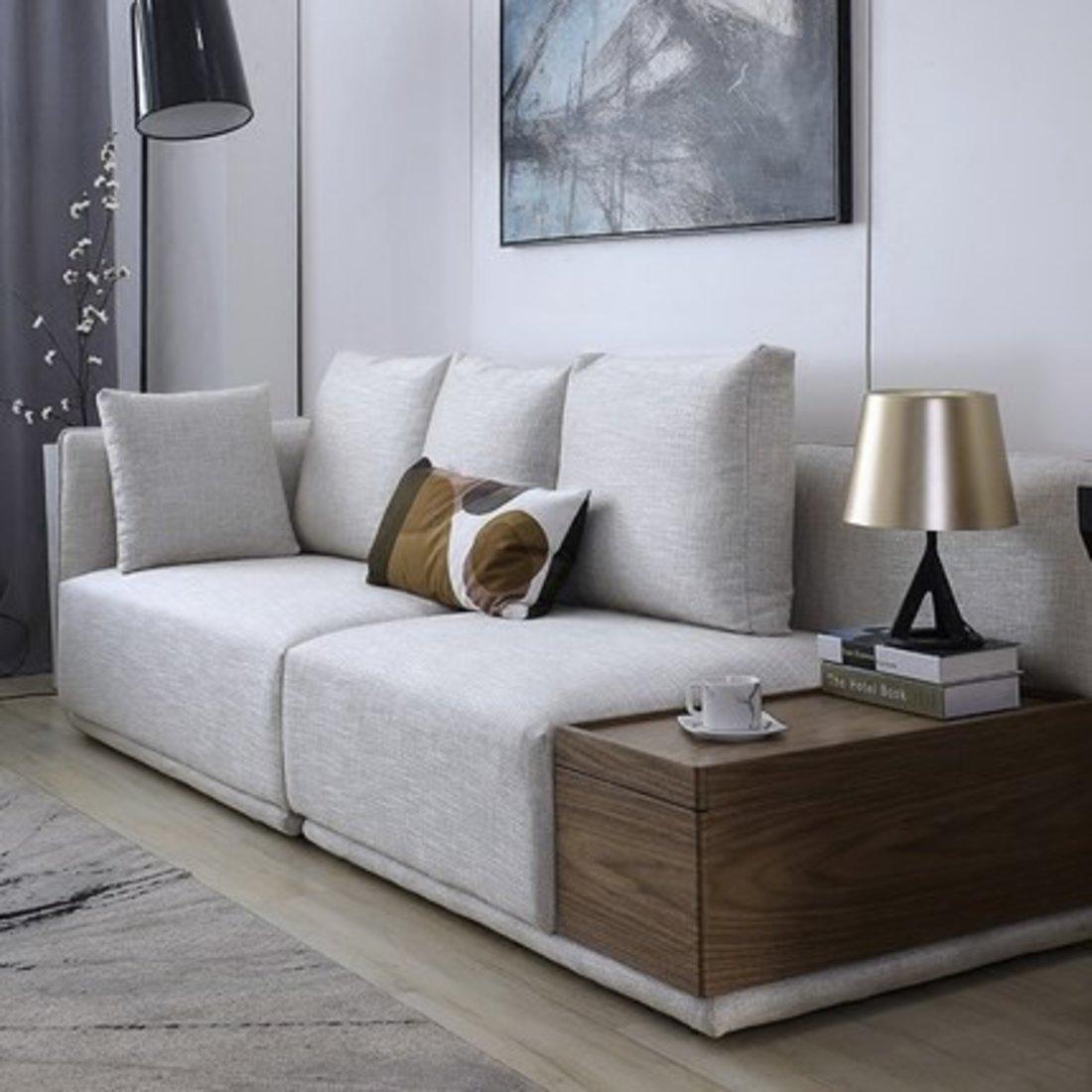 北欧多功能大户型羽绒储物布艺沙发组合