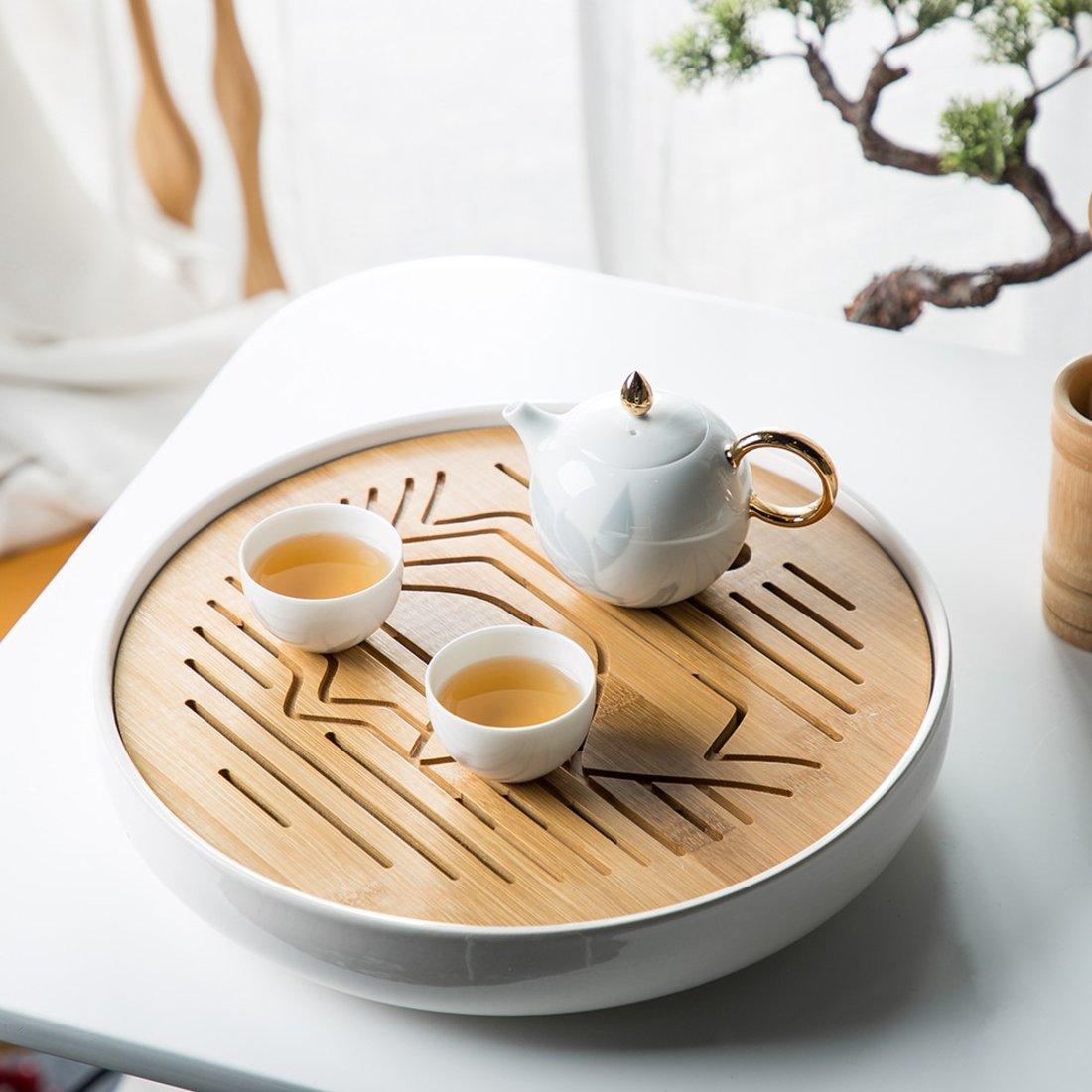 山影 茶盘(大号) 陶瓷材质 雕刻工艺 半镂空茶盘摆件