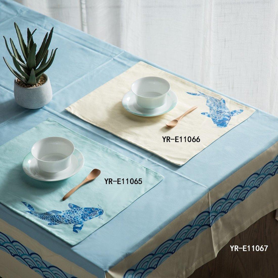 鱼瑞 桌垫 中式清新印花桌垫 装饰布艺 家居软装