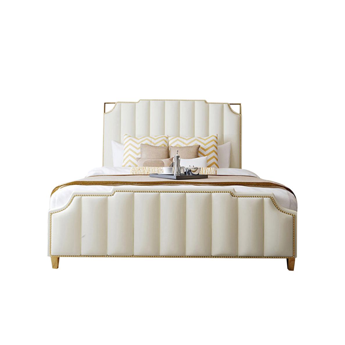白色高档布艺轻奢风格床