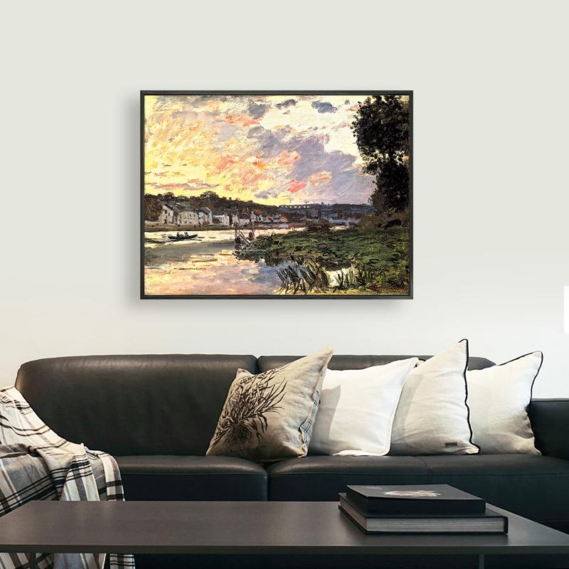 使徒家居丨世界名画装饰画 塞纳河畔-莫奈